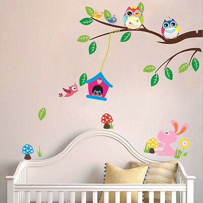 Lovely Owl Cartoon Removable Wall Stickers For Kids Rooms Decor YXH25