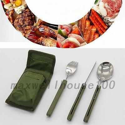 3 in 1 Outdoor Survival Spade Tool Folding Fork Spoon Set Camping Pouch