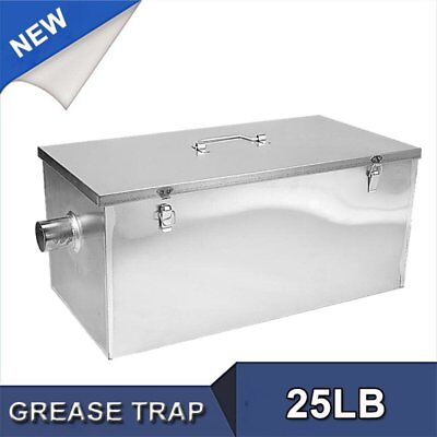 Commercial 25LB 13GPM Gallon Per Minute Grease Trap Stainless Steel Kitchen Kit