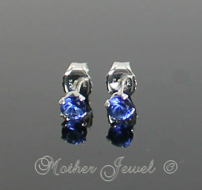 3mm Real Solid 925 STERLING SILVER Sapphire Blue CZ Earrings Unisex Studs
