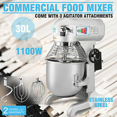 1.5 HP 30 Qt Commercial Food/Dough Mixer 1100W Bakery With 3 Different Beater