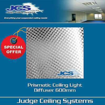 Box of 5 Prismatic Diffusers Panel Clear 600mm x 600mm. Suspended Ceilings.