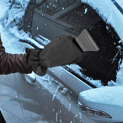 2 X Car Windscreen Ice Frost Scraper With Insulated Thermal Lined Glove Mitt