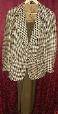 "Beige Tweed Wool Fletcher Jones Suit Jacket 44"" Chest Brown Trousers 34""-36"""