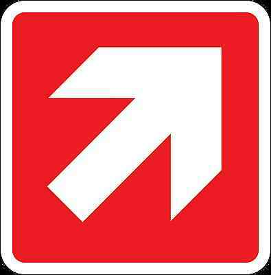 Health and Safety Fire Sticker Sign Fire Arrow Up Right Direction Sticker red