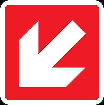 Health and Safety Fire Sticker Sign Fire Arrow Down Left Direction Sticker red