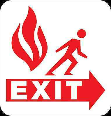 Health and Safety Fire Sticker Sign Fire Escape Exit Sticker Red