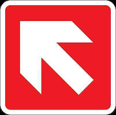 Health and Safety Fire Sticker Sign Fire Arrow Up Left Direction Sticker red