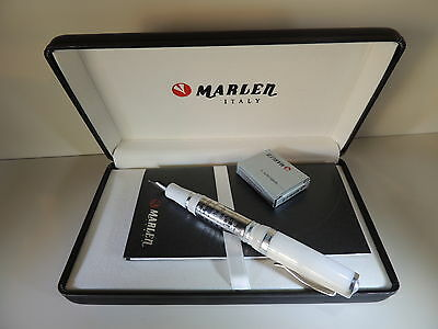 Marlen Forever White Silver Fountain Pen Broad Nib Free Shipping Mint Box Papers