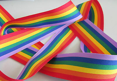 GAY PRIDE LGBT RAINBOW 25mm 3 METRE LENGTHS-Two Sided Faille Striped Ribbon Trim