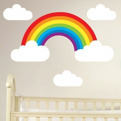 Rainbow and Clouds Removable Wall Sticker Set Children's Nursery Decal. Best Pri