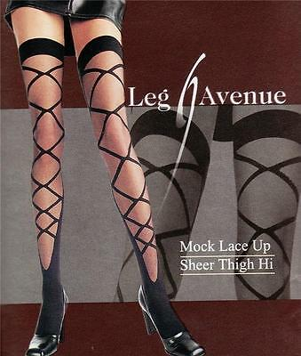 Mock Lace Up Front Patterned Sheer & Opaque Contrast Stockings - Thigh High's Hi