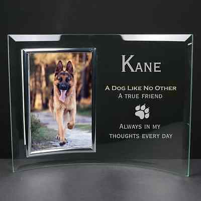 Personalised Engraved Glass Photo Frame Pet Dog Memorial Remembrance Gift
