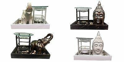 Buddha or Elephant tray with pebbles oil burner  +fragrance oil + tealight