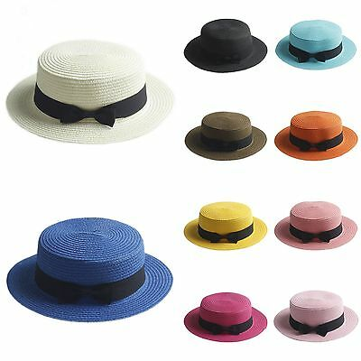Kids Children Girl Straw Bowler Boater Sun Hat Round Flat Caps Brim Summer Beach