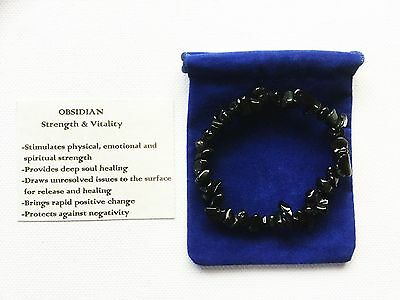 Black Obsidian Bracelet Gemstone Crystal Chip Beads Stretch 'BUY 3 GET 1 FREE'