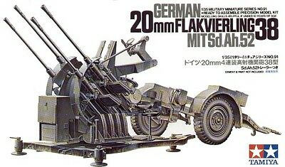 Tamiya 35091 1/35 Scale Model Kit WWII German 2cm Flak 38 Anti-Aircraft Gun