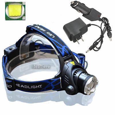 5000LM Zoomable XML T6 LED 18650 Rechargeable HeadLamp Torch HeadLight + Charger