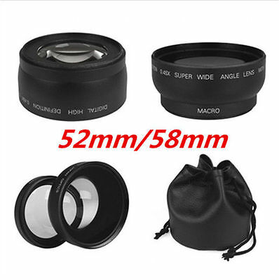 NEW 52mm/58mm 0.45x Wide Angle & Macro Conversion Lens for Nikon Sony SLR Camera
