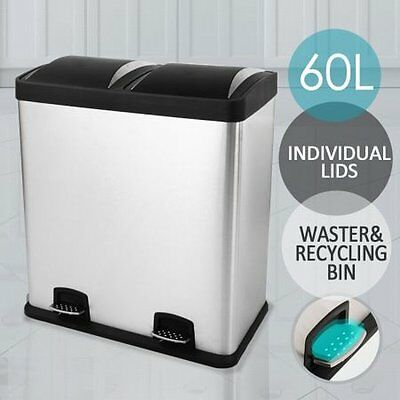 NEW Modern Stainless Steel 60L Dual Compartment Kitchen Garbage Bin, Foot Pedals