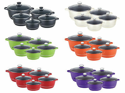 Nea Aluminium Die-Cast Casserole Set 5Piece Cooking Pot Induction Ceramic Coated