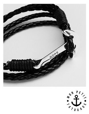 Bracelet mixte homme femme ancre noir marron cuir 2017 HOPE ink tattoo anchor