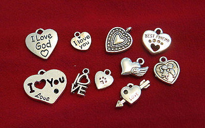 """10pc set """"Love"""" charms in antique silver style (BC837)"""