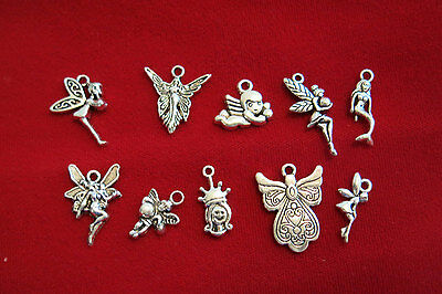 """10pc set """"princess / angel"""" charms in antique silver style (BC841)"""