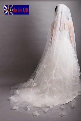 Wedding Veil *Chapel Length*1 Tier*Made to Order*Off white/ Ivory*Floral*