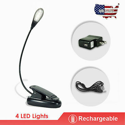 1 Arm  4LED Clip-on Flexible Reading LED Book Stand Lighting Lamp w/Charger