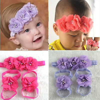 Lovely Foot Flower Barefoot Sandals + Headband Set for Baby Infants Lovers Gifts