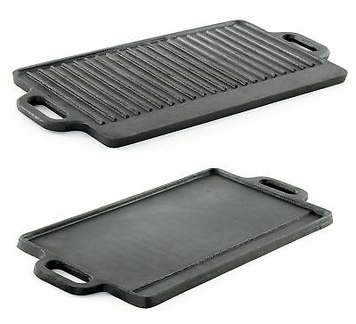 ProSource Heavy Duty Reversible Double Burner Cast Iron Grill Griddle