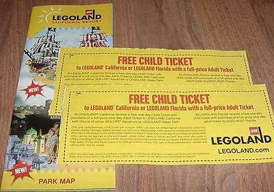 Two (2) Legoland KID KIDS CHILD Go Free California or Florida Good 3/30/2020