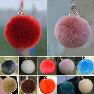 Fuax Rabbit Fur Fluffy Big Ball Car Keychain Pendant Handbag Charm Keyring Pom