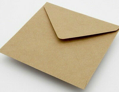 50 x 15.5cm Square Plain Ribbed Recycled Kraft Card Envelopes Natural Brown