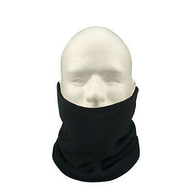 Black Polar Fleece Neck Warmer Thermal Snood Scarf Hat Ski Wear