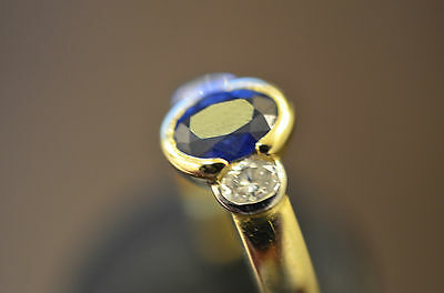 Bague or 18 carats-saphir diamants ovales-Ring 18K gold - sapphire oval diamonds