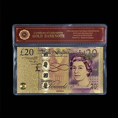 WR NEW Bank of England £20 Twenty Pound Note 24K Gold  Banknote + COA PACK