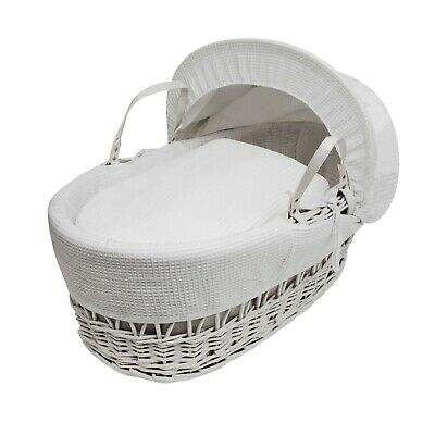 White Waffle  Moses  Basket  4 Piece Dressing (Basket Not Included)