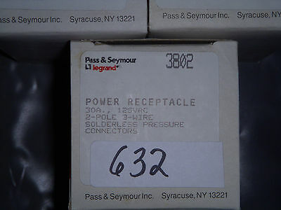 Lot of 5- Pass & Seymour 3802 30A 120V outlet- NEW - #632