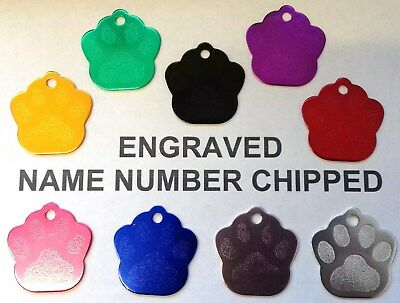 Luxury Paw Print Engraved Dog Pet id Tag - ALL COLOURS AVAILABLE Phone Name cat