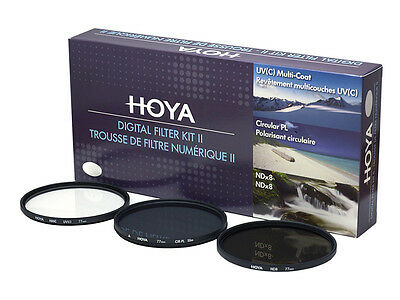 HOYA Digital Filter Kit II 37 49 52 55 58 62 67 72 77 82mm 1x UV 1x ND8 1x CPL