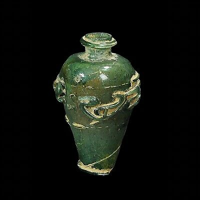 Aphrodite- Ancient Islamic Glass Flask With Scroll Design