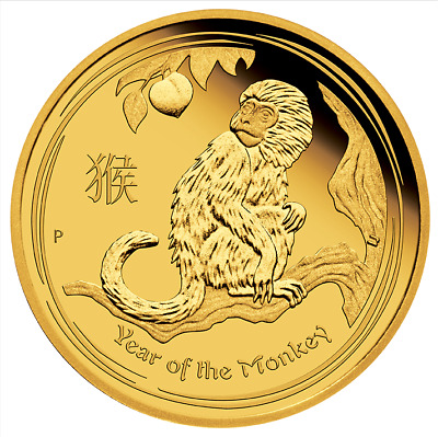 Australia 2016-P Year of Monkey Lunar Zodiac $15 1/10 Oz .9999 Pure Gold Proof
