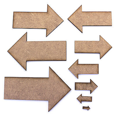 Basic Arrow Craft Shape. Various Sizes 10mm - 200mm. 2mm MDF Toppers