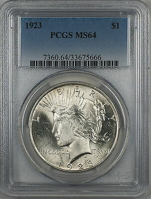 1923 Silver Peace Dollar $1 Coin PCGS MS-64 (Better Coin) (9b)
