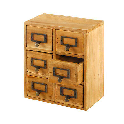 Small Rustic Wooden Storage Unit x 6 Drawers Desk Tidy Organiser Shabby Chic D03