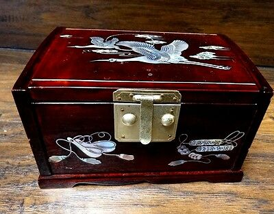 lot G82  Vintage Chinese Lacquer Mother of Pearl inLaid  Wood Jewlery Box MOP