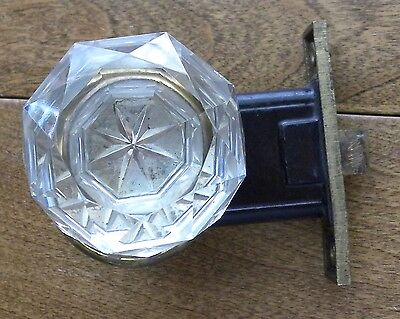 Antique FACETED CRYSTAL Star Center DOOR KNOB Set YALE Mortise BRASS Thumb Turn