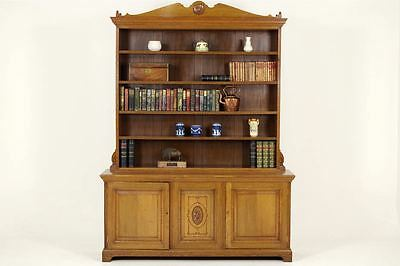 B-240 Antique Victorian Solid Oak Open Bookcase, Display Cabinet, 1870